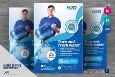 Ad: Water Delivery Promotional Flyer by PSDPixel on Water Delivery Promotional Flyer Boost your company's sales and attract new customers! This Water Delivery Promotional Flyer/ Water Delivery Flyer Design Templates, Flyer Template, Water Delivery Service, All About Water, Water Company, Water Poster, Bottle Images, Promotional Flyers, Marketing Opportunities