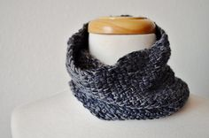 The Futurist Hand Knit Neckwarmer Cowl in Graphite by awkward