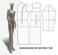 MOLDE BASE VESTIDO T-38 ~ Moldes Moda por Medida