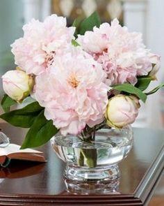 silk flower centerpieces peonies and silver   Pink Silk Peony Centerpiece & Artificial Table Arrangement