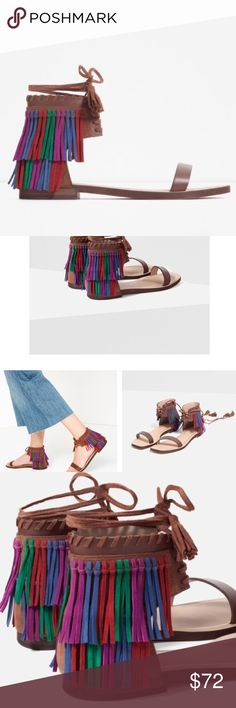 Zara Fringed Flat Leather Sandal - NEW Brand new! Great with any outfit! Multi color fringes make this pair super stylish! 2318119 Zara Shoes