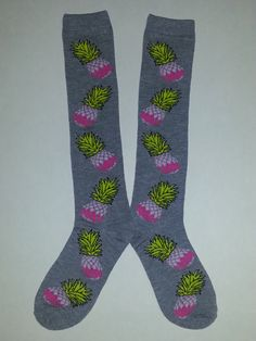 Pinapple themed Knee High Socks! Sold by Socks & Souls where we are warming souls through soles by giving a pair of socks to someone in need with every sock purchase! Visit socksandsouls.com today and warm souls, and soles, the simple way!