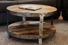 Reclaimed Wood Industrial Circle Table, Two Tiered, Steel Rim and Legs.