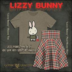 Lizzy Borden kawaii horror legend goth shirt skirt clothing Bunny Outfit, Shirt Skirt, Skater Skirt, Gothic, Horror, Kawaii, Plaid, Unisex, Tees