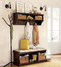 Coat rack and bench at entry! Love this for homes or apartments that do not really have an entry or mudroom