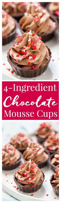 These 4-Ingredient Chocolate Mousse Cups are about as easy as it gets! They're ready in 10 minutes and there's no baking required which makes them a perfect last minute dessert! via @sugarandsoulco