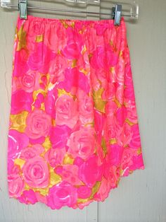 Sexy vintage slip, gorgeous water color roses in shades or coral, fuchsia,lime green feminine scalloped bottom, vintage SFA by TwoSwansSwimming on Etsy