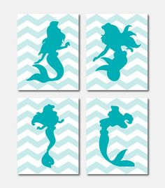 Princess Silhouette Quad - Ariel Mermaid - Nursery Wall Art - Girls Bedroom Wall Art - 11 x 14 prints - Chevron - Your choice of colors