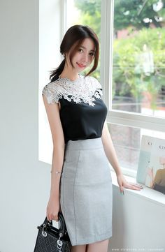 Romantic & Trendy Looks, Styleonme Classy Outfits, Chic Outfits, Beautiful Outfits, Korean Women, Sexy Asian Girls, Beauty Women, Asian Beauty, Korean Fashion, Fashion Dresses