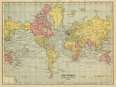 World map showing the British Empire in red (1922).