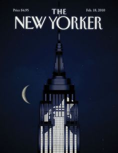 New Yorker Magazine Cover: Moon Behind the Empire State Building ~ETS #empirestatebuilding #artdeco #thenewyorker