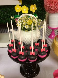 Minnie Mouse birthday party candy apples! See more party planning ideas at CatchMyParty.com!