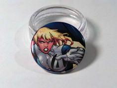 Comic Book 1.5 Button// Invisible Woman, $1.00