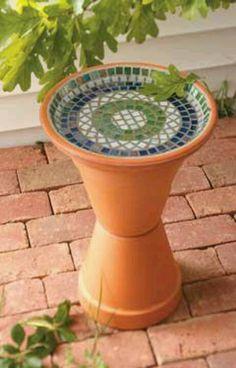 Mosaic Birdbath #garden #terra cotta #pots #stacked