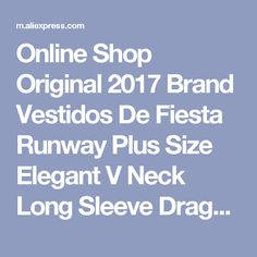 Online Shop Original 2017 Brand Vestidos De Fiesta Runway Plus Size Elegant V Neck Long Sleeve Dragon Green Print Silk Midi Dress Women | Aliexpress Mobile
