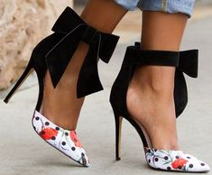 'Betty' Polka-Dot Pump With Floral Print and Oversized Bow