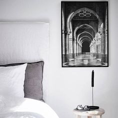 This is a beautiful printable black and white Morocco print; look no further for boho decor ideas! This bohemian large art is a stunning travel photography piece, perfect for your wanderlust gallery wall. The photography features an interior scene complete with Moroccan tile and