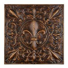 Embossed Bronze Fleur De Lis Metal Tile