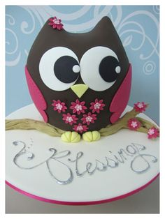 owl cake and eyes<3