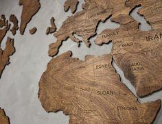 Wood world map wall art, carved 3 Panel home decor, Wood Wall Art ...