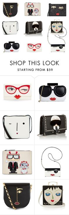 """Let's put a smile on that purse"" by insanelyit on Polyvore featuring Kate Spade, Alice + Olivia, Lulu Guinness, Fendi, Karl Lagerfeld, Nine West and Olympia Le-Tan"
