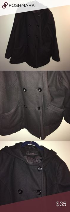 """Women's size 1X black hooded peacoat Women's size 1X black hooded pea coat by Giacca.  The size tag was cut out but measurements are as follows: 21"""" from armpit to armpit and 28"""" from shoulder seam to bottom hem.  It has two pockets on the front and a hood.  It is a great coat for a cold winter.  It was used a few winters but is still in EUC.  Bottom button was replaced with interior button.  It comes from a smoke free and a pet free home!  Bundle & save!! Giacca Jackets & Coats Pea Coats"""