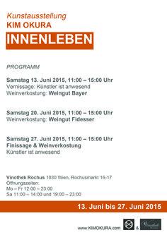 Einladung Ausstellung KIM OKURA INNENLEBEN, Programm, Vernissage Wien Vinothek ROCHUS Rochusmarkt