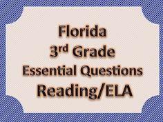 Florida 3rd Third Grade ELA ESSENTIAL QUESTIONS Blue Border