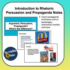 PowerPoint slidesintroduction to rhetorical appeals (ethos, pathos, logos)Multiple examples and picturesIncludes introduction to propagandaPerfect for an introduction to persuasion unit . Propaganda Techniques, Virtual High School, Ap Language, High School English, Learn English, Notes, Teacher, The Unit, Muse