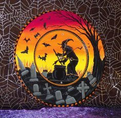 Hand Painted Halloween WITCH-GRAVEYARD-BATS