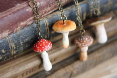 Jewelry and totems inspired by nature's little beauties. Handmade in Southern California. Jewelry and totems inspired by nature's little beauties. Handmade in Southern California. Fimo Polymer Clay, Polymer Clay Creations, Polymer Clay Jewelry, Polymer Clay Projects, Polymer Clay Mushroom, Mushroom Crafts, Mushroom Art, Totems, Biscuit