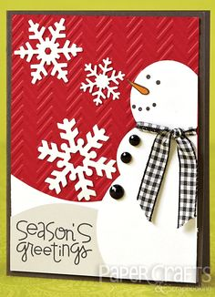 Katie Gehring - Paper Crafts & Scrapbooking Card Creations, Vol. card making, holiday, snowman Everyone sends Christmas cards but wouldn't it be fun to send just because snowman cards to celebrate winter Homemade Christmas Cards, Christmas Cards To Make, Christmas Greetings, Homemade Cards, Handmade Christmas, Holiday Cards, Christmas Crafts, Christmas Snowman, Xmas Cards Handmade