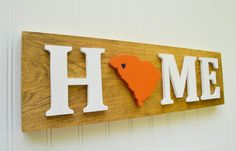 Clemson Tigers State Heart Home Sign Handcrafted by StateYourTeam