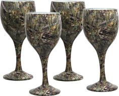 Rivers Edge Products Bass Pattern 8 ounce wine glasses. What would be a better compliment to any outdoor or hunting enthusiasts� decor than a selection of camouflage glassware. These real glasses are Hydrographically printed in Bass Camo and look awesome! All are dishwasher safe and come in great looking protective, full color window boxes.