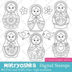 """Matryoshka"" Digital Stamps by pixel paper crafts, via Etsy. Embroidery Patterns, Hand Embroidery, Matryoshka Doll, Thinking Day, Digi Stamps, Colouring Pages, Stencil, Needlework, Applique"