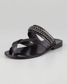 Saint Laurent Chain-Trim Toe-Ring Sandal - Bergdorf Goodman