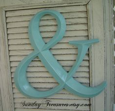 3 Day Ship. Aqua Tiffany Blue Ampersand. AND Symbol Graphics Sign. Letters A-W. Custom Painted  Wall Art. Family Initials. Wedding. Lovers. -$23.00