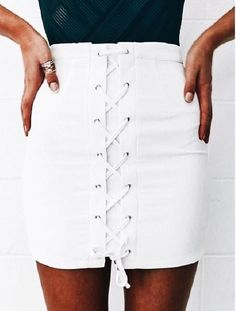 White lace up skirt.