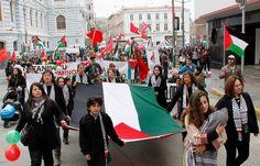 Manifestation pro-palestinienne à Valparaiso, Chili.