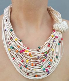 Rainbow summer necklace Knot fiber bib jewelry Small multicolor wooden beads White cord necklace Neck accessory Sister boho gift - Multicolor summer necklace Multicolor wood bead Summer knot necklace Statement necklace Colorful be - Bold Necklace, Summer Necklace, Knot Necklace, Tribal Necklace, Beaded Necklace, Leather Necklace, Collar Necklace, Fashion Necklace, Turquoise Necklace