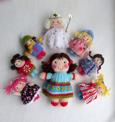 $5.58 - Jenny and the Jolly Dollies - toy dolls - INSTANT DOWNLOAD - PDF email knitting pattern - ePattern