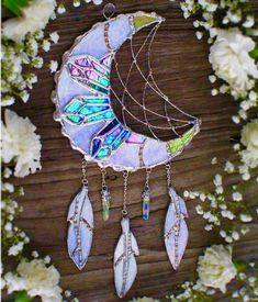 Lead stained glass moon with crystals Stained Glass Projects, Stained Glass Patterns, Stained Glass Art, Mosaic Glass, Mosaic Patterns, Fused Glass, Dreamcatchers, Moon Dreamcatcher, Diy And Crafts