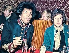 Jimi Hendrix and Eric Clapton in Soho, London. Possibly the last photo of them together. Clapton bought Hendrix a left-handed Strat, but Hendrix died before he could get it. It would have been his first real left-handed guitar.