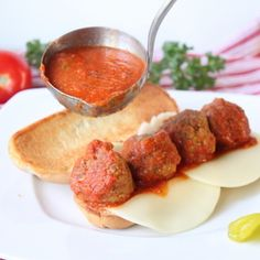 You won't even notice that this meatball sandwich is made with turkey!