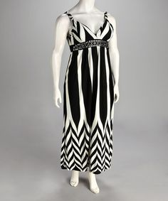 Take a look at this Black & White Zigzag Maxi Dress - Plus by Life and Style Fashions on #zulily today!