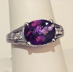 14k white gold antique style amethyst & diamond ring!