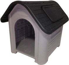 """Features:  -Roof extends 3"""" from either side.  -Vents on every side and roof.  -All vents can be opened.  -Wall color: Purple gray.  -Roof color: Dark gray.  -Accommodate a medium size dog.  Finish: -"""