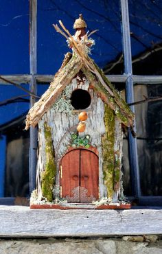 007..Large Birchbark Birdhouse - Handmade...A good use for the birch branches that have broke off my tree...