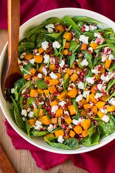 Butternut Squash, Pomegranate and Goat Cheese Spinach Salad with Red Wine Vinaigrette | Cooking Classy