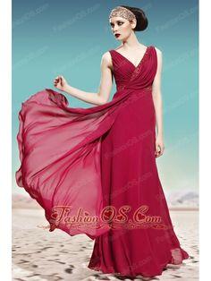 Evening Dresses-A-line Side Draping V-neck Sleeveless Tencel Beaded Evening Dress Dresses Elegant, Glamorous Dresses, Unique Prom Dresses, Prom Dresses For Sale, Ball Dresses, Homecoming Dresses, Bridesmaid Dresses, Formal Dresses, Dress Prom